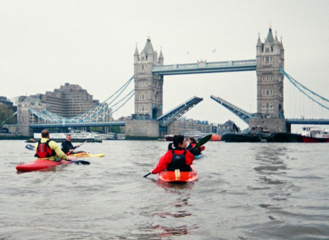 Kayaking on the River Thames in London