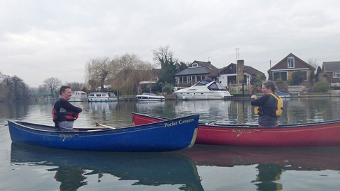 Canoes on the Thames near Walton Bridge