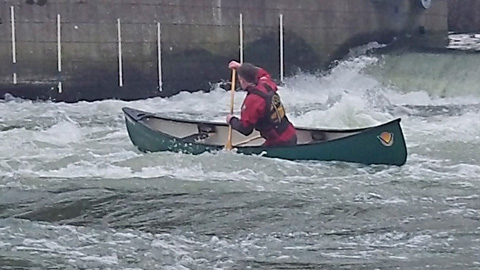 Canoeing on the Thames: White water at Shepperton Weir.