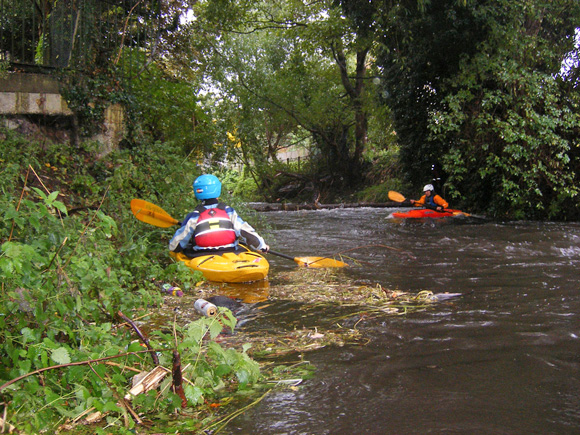 Kayakers on River Wandle in London