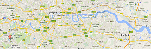 The tidal Thames stretches as far as Teddington Lock, marked on the far left (west) of this map which shows the Thames as it flows through London.