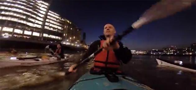 Kayaking through London at night on the River Thames