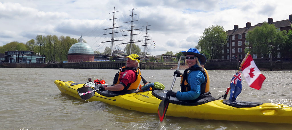 london kayak company on River Thames at Greenwich, London
