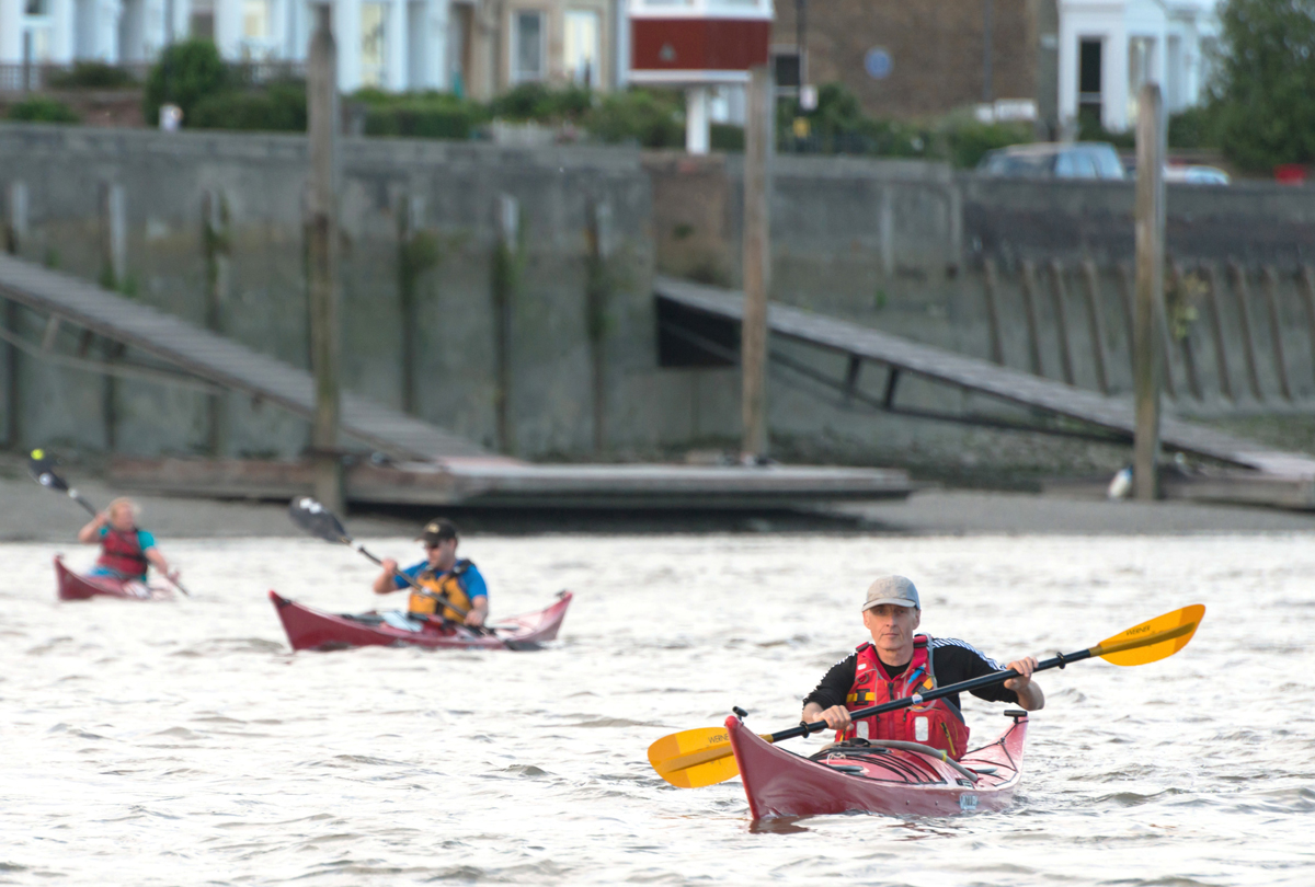 Kayaking on the tidal Thames. Image credit: PLA