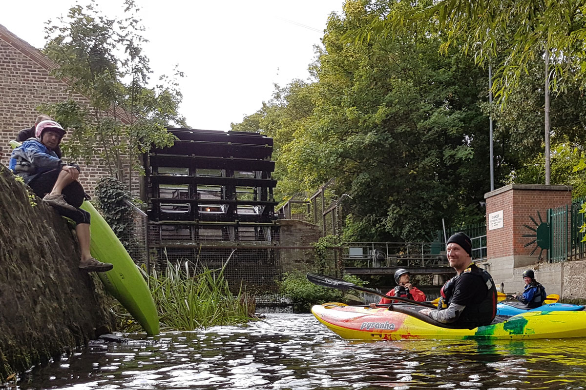 Kayaking the Wandle, getting on at Merton Abbey Mills